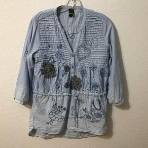 Desigual Blue/White Pinstripe Embroidred Shirt